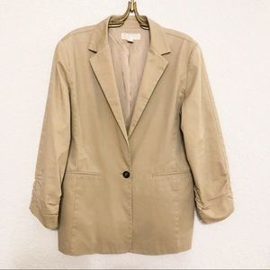 Michael Kors 12 Cotton Shirred Boyfriend Blazer